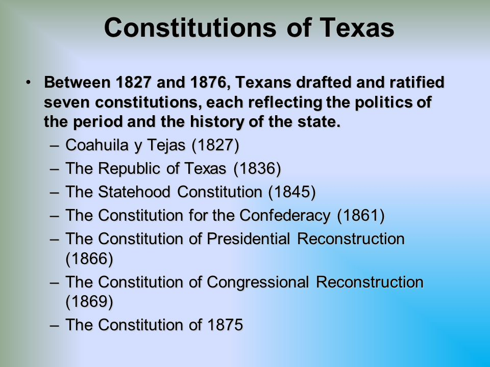 The Constitution of 1875 Goals and Objectives Restrict the power of the state governmentRestrict the power of the state government –Many believed that excessive tax money was spent to fund inappropriate government activities Promoting railroad constructionPromoting railroad construction Excessive funding of public schoolsExcessive funding of public schools Public debt had increased twenty times over what it had been in 1866Public debt had increased twenty times over what it had been in 1866 Further the interests of the agrarian communityFurther the interests of the agrarian community –Limit the power of banks and railroads –Place most of the power at the local level