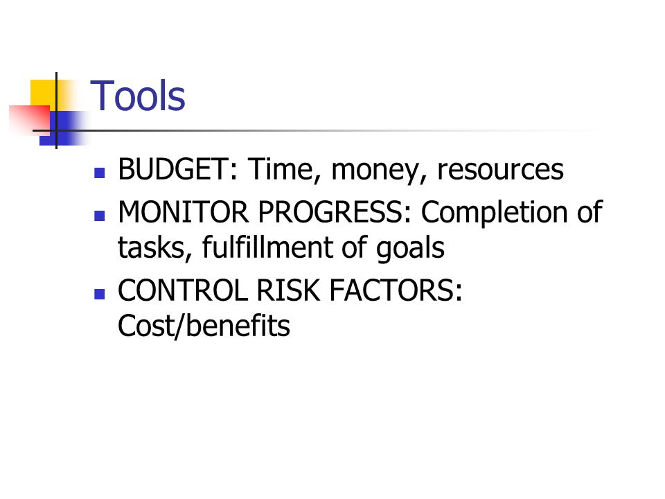 Tools BUDGET: Time, money, resources MONITOR PROGRESS: Completion of tasks, fulfillment of goals CONTROL RISK FACTORS: Cost/benefits