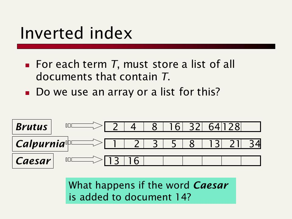 Inverted index For each term T, must store a list of all documents that contain T. Do we use an array or a list for this? Brutus Calpurnia Caesar 1235