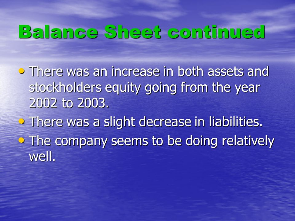 Balance Sheet continued There was an increase in both assets and stockholders equity going from the year 2002 to 2003.