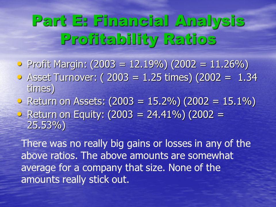 Part E: Financial Analysis Profitability Ratios Profit Margin: (2003 = 12.19%) (2002 = 11.26%) Profit Margin: (2003 = 12.19%) (2002 = 11.26%) Asset Turnover: ( 2003 = 1.25 times) (2002 = 1.34 times) Asset Turnover: ( 2003 = 1.25 times) (2002 = 1.34 times) Return on Assets: (2003 = 15.2%) (2002 = 15.1%) Return on Assets: (2003 = 15.2%) (2002 = 15.1%) Return on Equity: (2003 = 24.41%) (2002 = 25.53%) Return on Equity: (2003 = 24.41%) (2002 = 25.53%) There was no really big gains or losses in any of the above ratios.