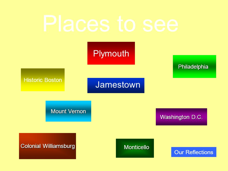 Plymouth Places to see Historic Boston Mount Vernon Mount Vernon Colonial Williamsburg Colonial Williamsburg Washington D.C.