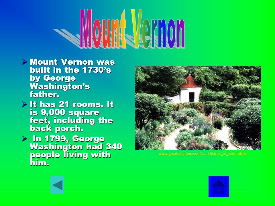  Mount Vernon was built in the 1730's by George Washington's father.