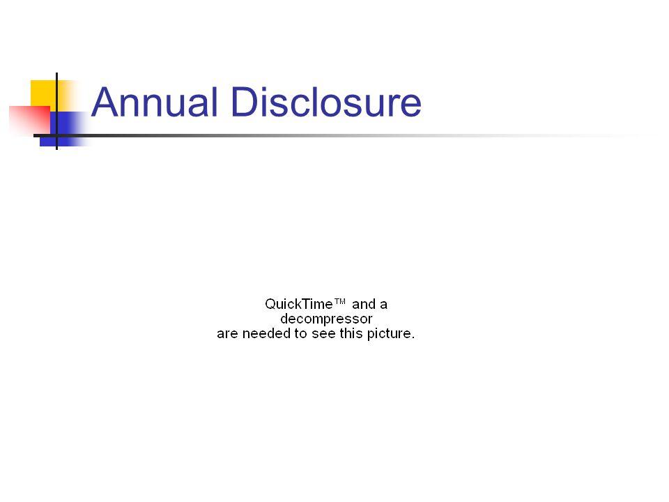Annual Disclosure