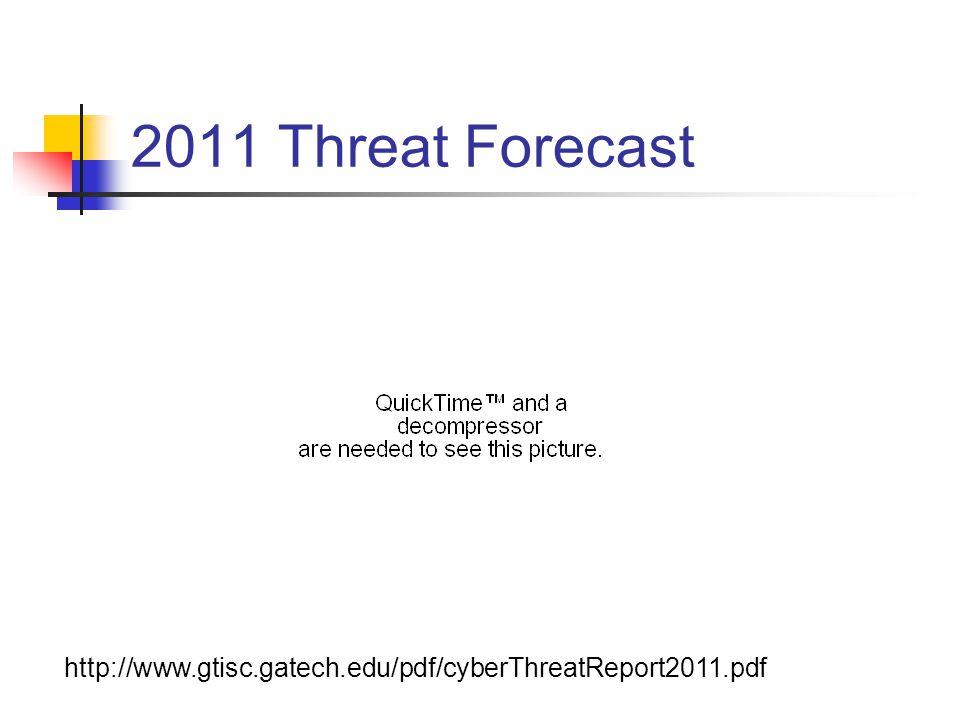 2011 Threat Forecast http://www.gtisc.gatech.edu/pdf/cyberThreatReport2011.pdf