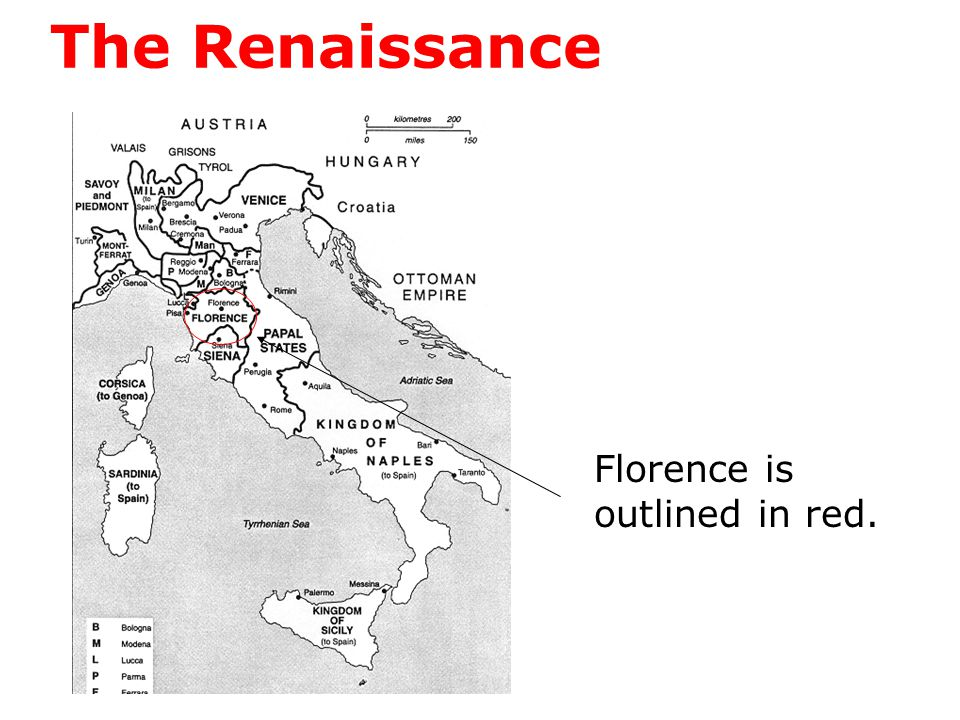 The Renaissance Florence is outlined in red.