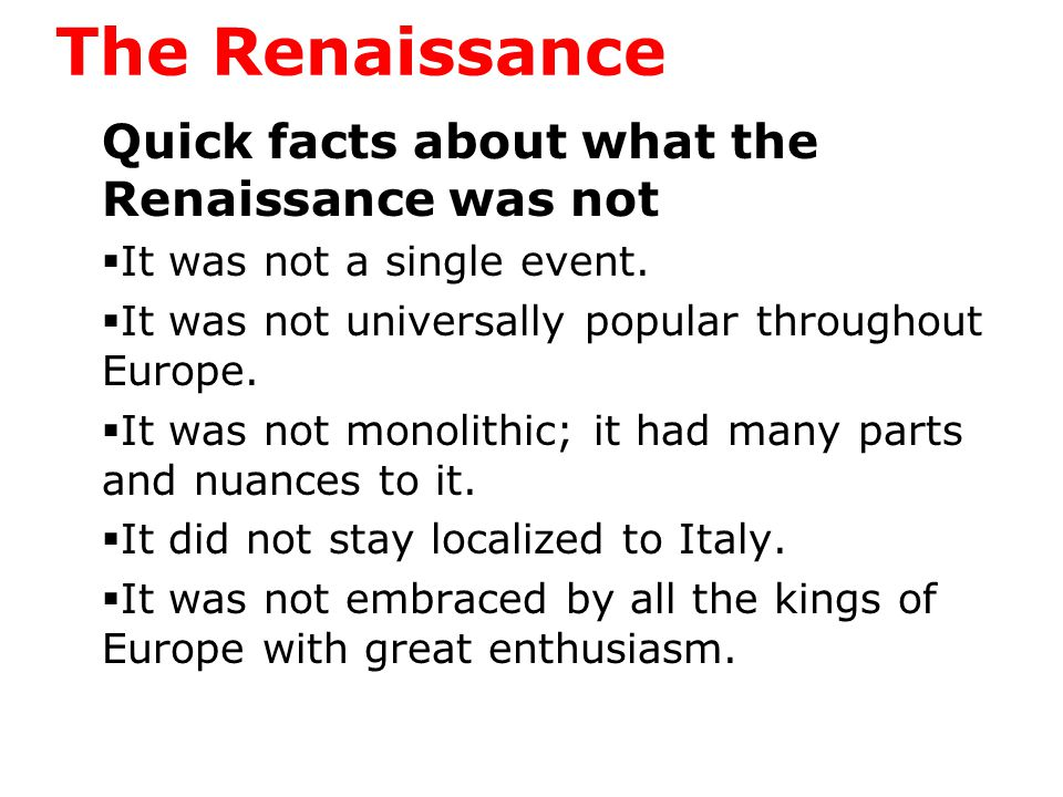The Renaissance The Renaissance began in Florence, Italy among crafters of the arts guilds.