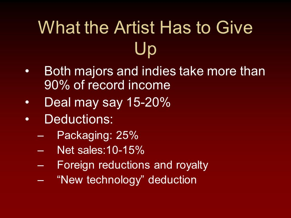 What the Artist Has to Give Up Both majors and indies take more than 90% of record income Deal may say 15-20% Deductions: –Packaging: 25% –Net sales:10-15% –Foreign reductions and royalty – New technology deduction