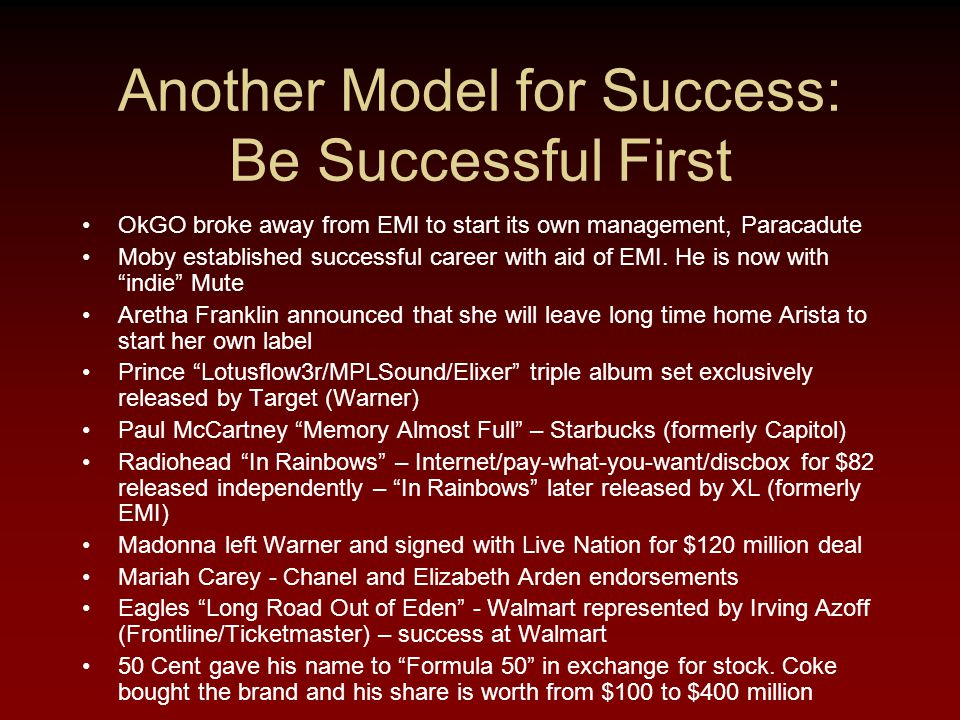 Another Model for Success: Be Successful First OkGO broke away from EMI to start its own management, Paracadute Moby established successful career with aid of EMI.