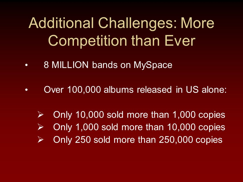 Additional Challenges: More Competition than Ever 8 MILLION bands on MySpace Over 100,000 albums released in US alone:  Only 10,000 sold more than 1,000 copies  Only 1,000 sold more than 10,000 copies  Only 250 sold more than 250,000 copies