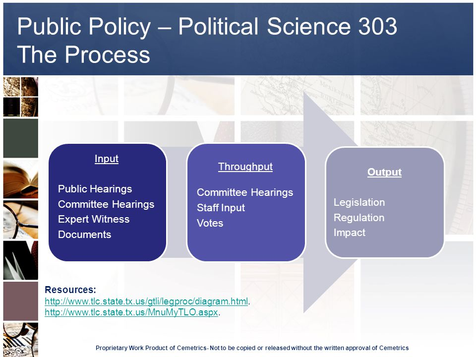 Public Policy – Political Science 303 The Process Proprietary Work Product of Cemetrics- Not to be copied or released without the written approval of Cemetrics Input Public Hearings Committee Hearings Expert Witness Documents Throughput Committee Hearings Staff Input Votes Output Legislation Regulation Impact Resources: http://www.tlc.state.tx.us/gtli/legproc/diagram.htmlhttp://www.tlc.state.tx.us/gtli/legproc/diagram.html.