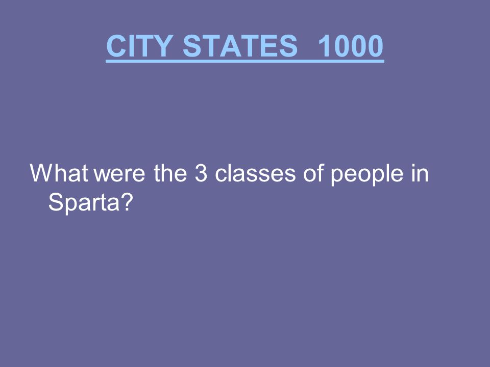 CITY STATES 1000 What were the 3 classes of people in Sparta
