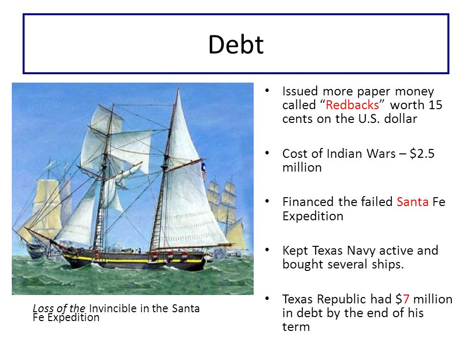 Debt Loss of the Invincible in the Santa Fe Expedition Issued more paper money called Redbacks worth 15 cents on the U.S.
