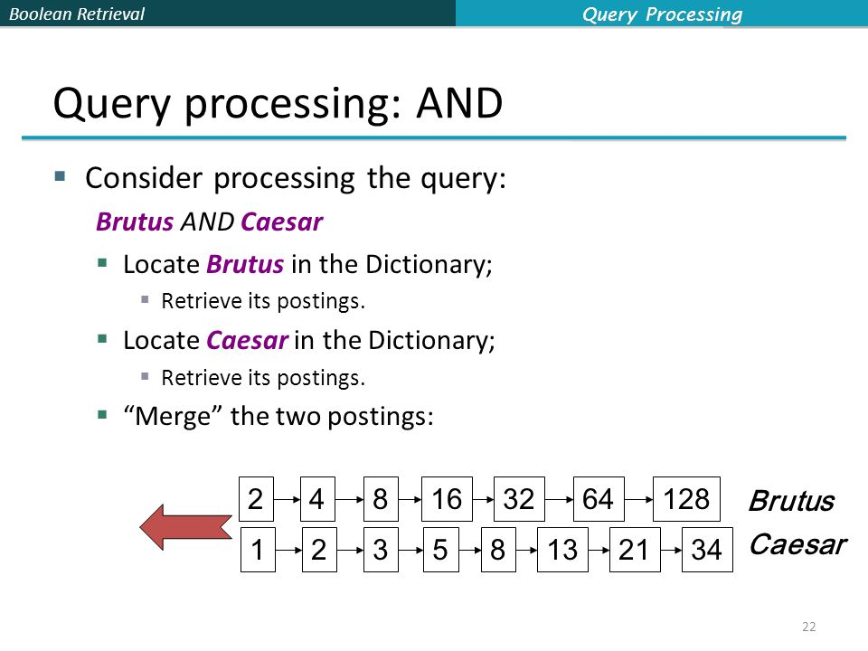Boolean Retrieval Query processing: AND  Consider processing the query: Brutus AND Caesar  Locate Brutus in the Dictionary;  Retrieve its postings.