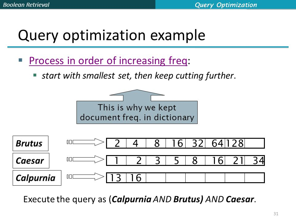 Boolean Retrieval Query optimization example  Process in order of increasing freq:  start with smallest set, then keep cutting further.