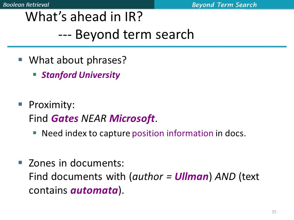Boolean Retrieval What's ahead in IR. --- Beyond term search  What about phrases.