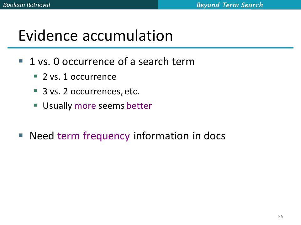 Boolean Retrieval Evidence accumulation  1 vs. 0 occurrence of a search term  2 vs.