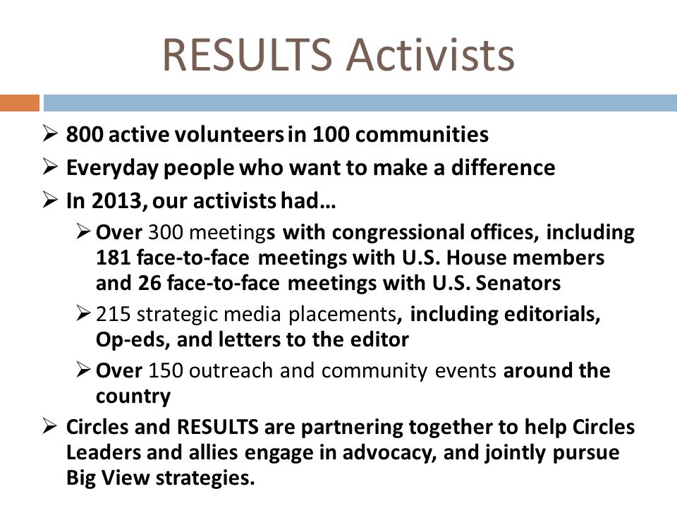 RESULTS Activists  800 active volunteers in 100 communities  Everyday people who want to make a difference  In 2013, our activists had…  Over 300 meetings with congressional offices, including 181 face-to-face meetings with U.S.