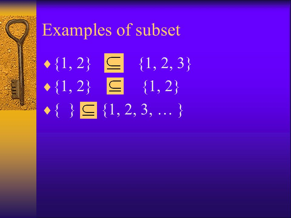 Examples of subset  {1, 2} {1, 2, 3}  {1, 2} {1, 2}  { } {1, 2, 3, … }