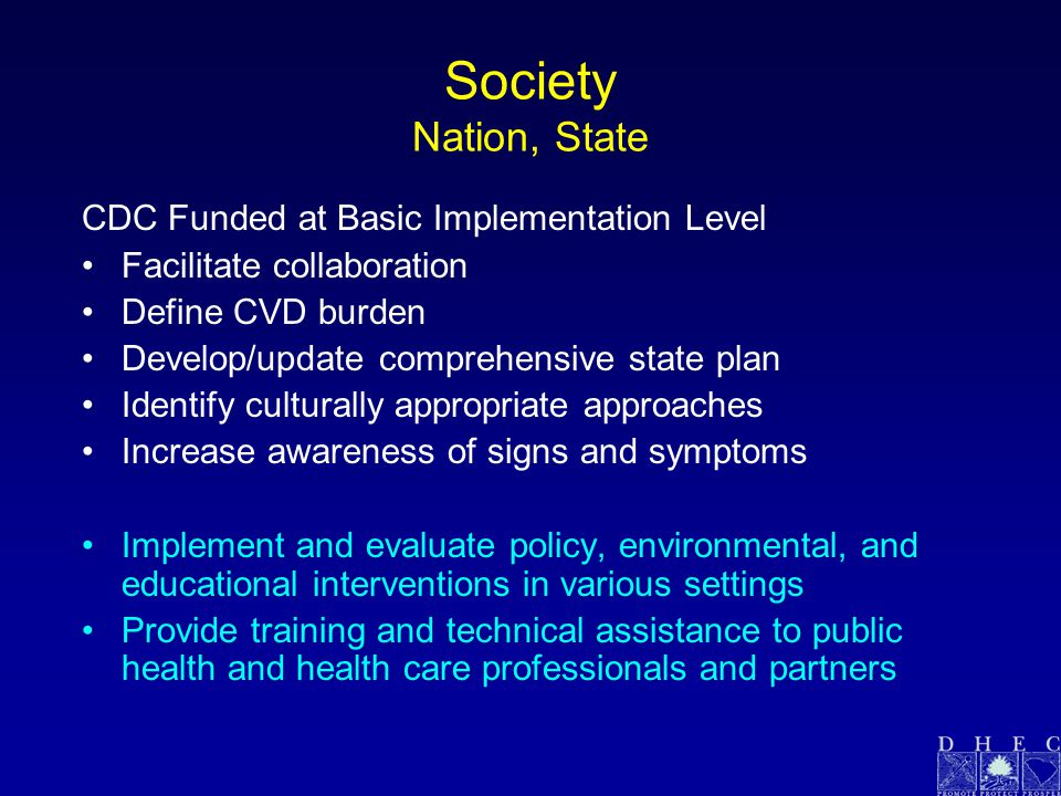 Society Nation, State CDC Funded at Basic Implementation Level Facilitate collaboration Define CVD burden Develop/update comprehensive state plan Identify culturally appropriate approaches Increase awareness of signs and symptoms Implement and evaluate policy, environmental, and educational interventions in various settings Provide training and technical assistance to public health and health care professionals and partners