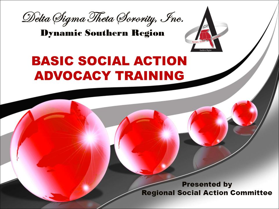 SOCIAL ACTION DEFINED  Vehicle through which the sorority establishes a position on an emerging or perennial public issue;  Gives us a unique opportunity to advocate policies and legislation that will impact every area of the Five Point Programmatic Thrust;  Determines the action to be taken, and directs the actions of members, chapters and representative bodies.