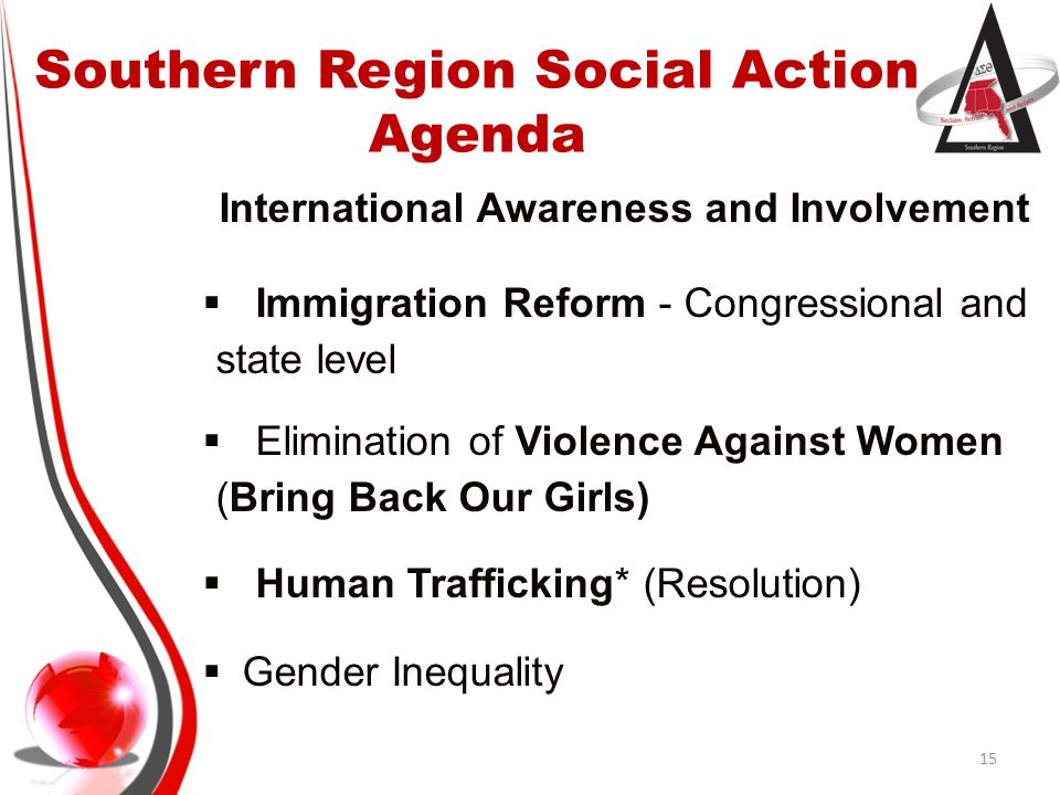 Southern Region Social Action Agenda Physical and Mental Health  Medicaid Expansion  Affordable Care Act (Advocacy/Education/Awareness)  Mental Illness Awareness  Health Disparities (eliminating)  HIV/AIDS – Know Your Status  ACS Regional Cancer Awareness Program *  Obesity (adult and childhood) 16