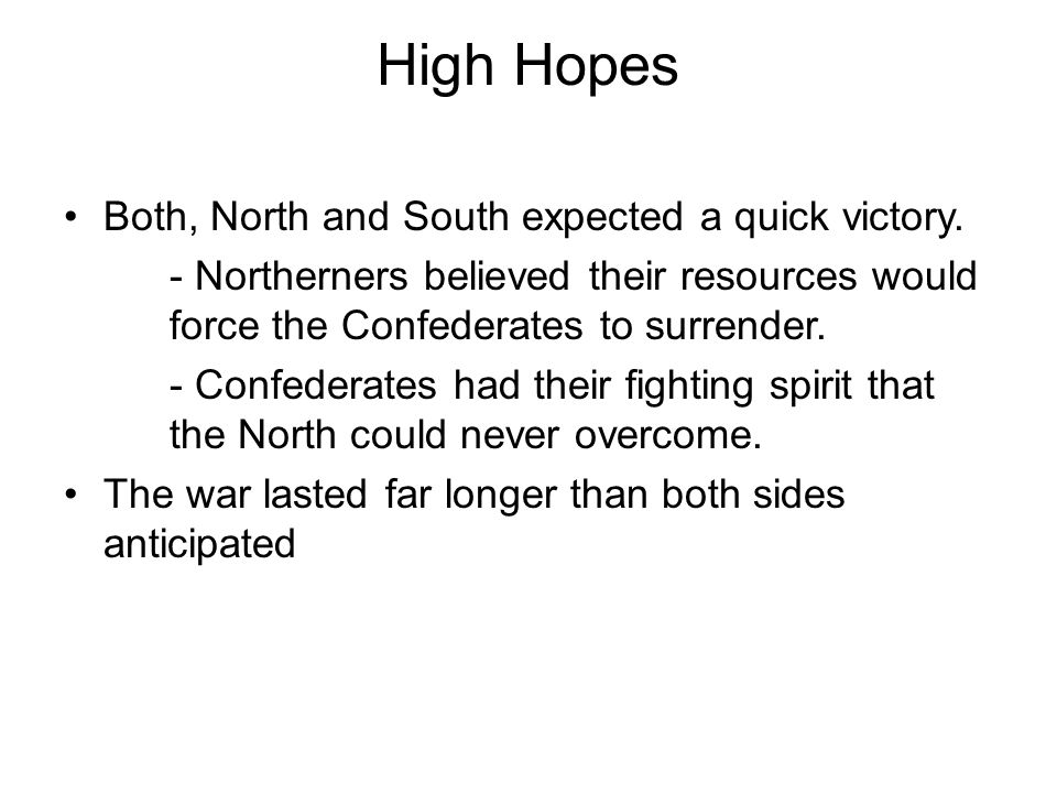 High Hopes Both, North and South expected a quick victory.