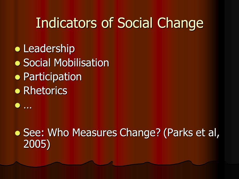 Indicators of Social Change Leadership Leadership Social Mobilisation Social Mobilisation Participation Participation Rhetorics Rhetorics … See: Who Measures Change.