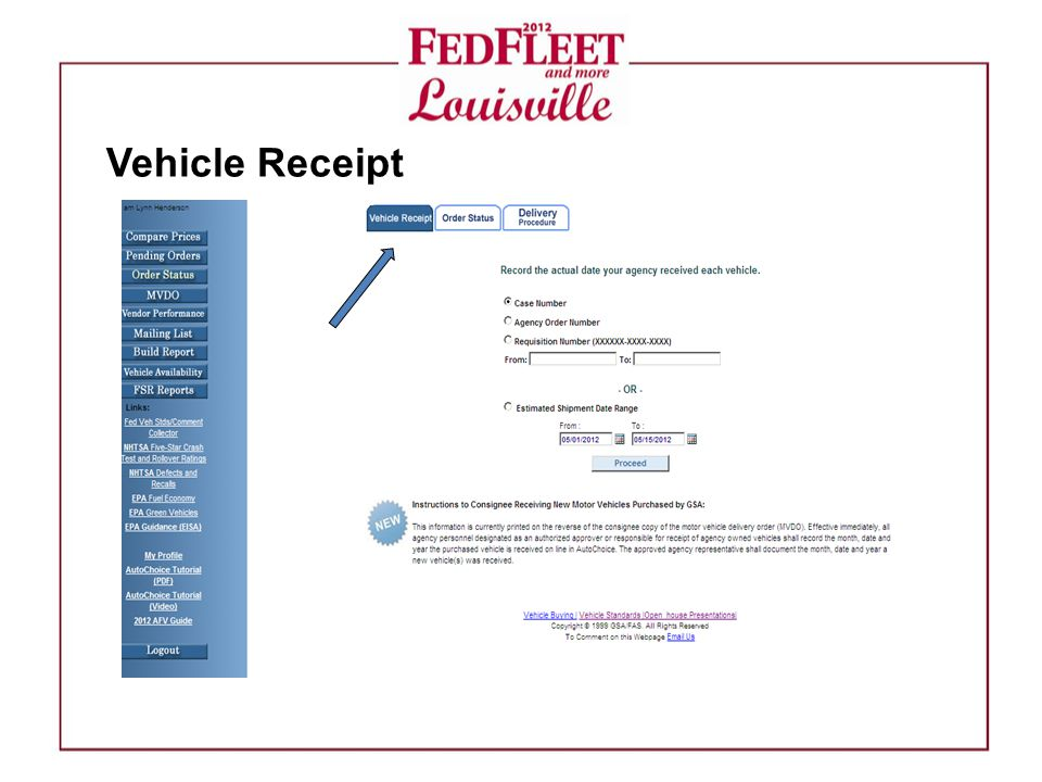 Vehicle Receipt