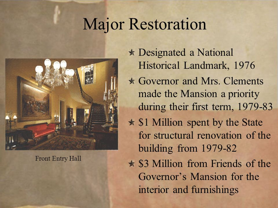 Years of Change In the 1870's, running water, gas lights, and a modern toilet improved the Mansion.