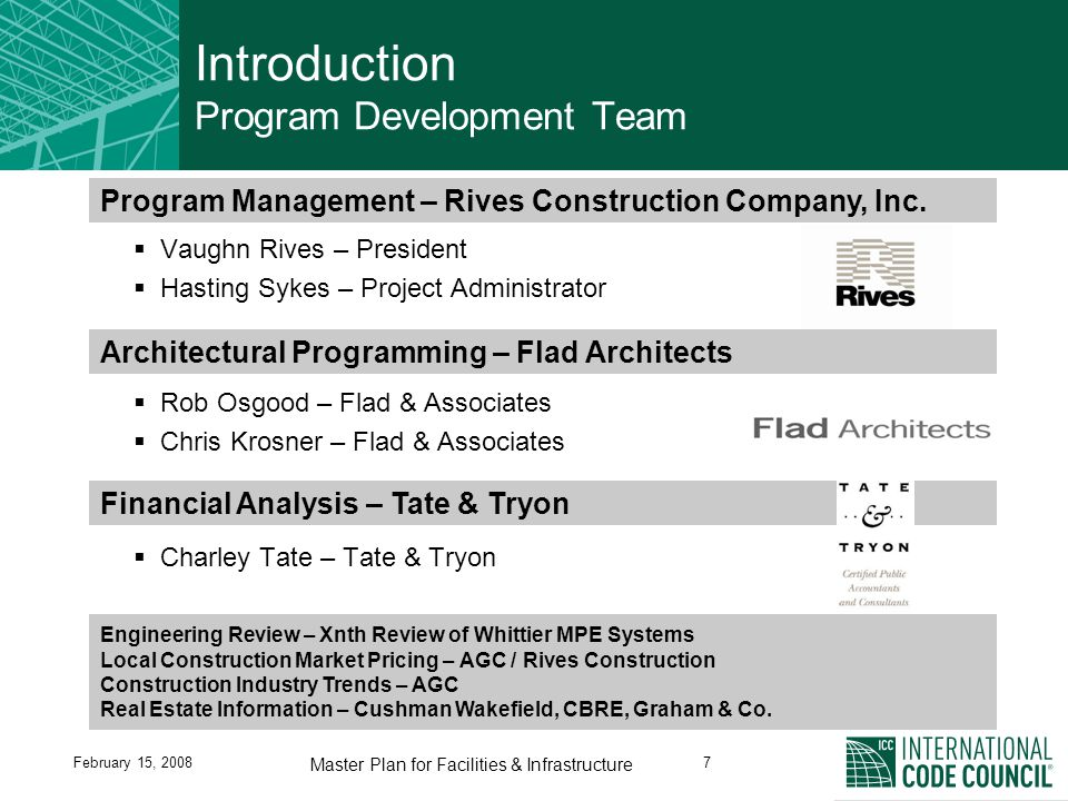 February 15, 20087 Master Plan for Facilities & Infrastructure Introduction Program Development Team  Vaughn Rives – President  Hasting Sykes – Project Administrator  Rob Osgood – Flad & Associates  Chris Krosner – Flad & Associates  Charley Tate – Tate & Tryon Financial Analysis – Tate & Tryon Engineering Review – Xnth Review of Whittier MPE Systems Local Construction Market Pricing – AGC / Rives Construction Construction Industry Trends – AGC Real Estate Information – Cushman Wakefield, CBRE, Graham & Co.