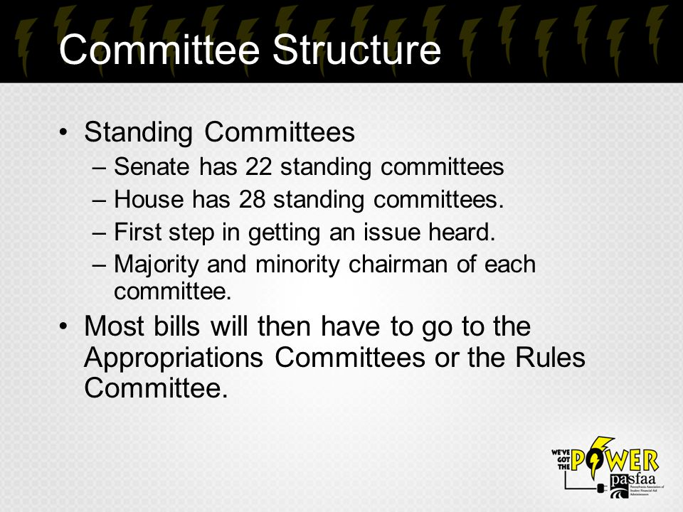 Committee Structure Standing Committees –Senate has 22 standing committees –House has 28 standing committees.