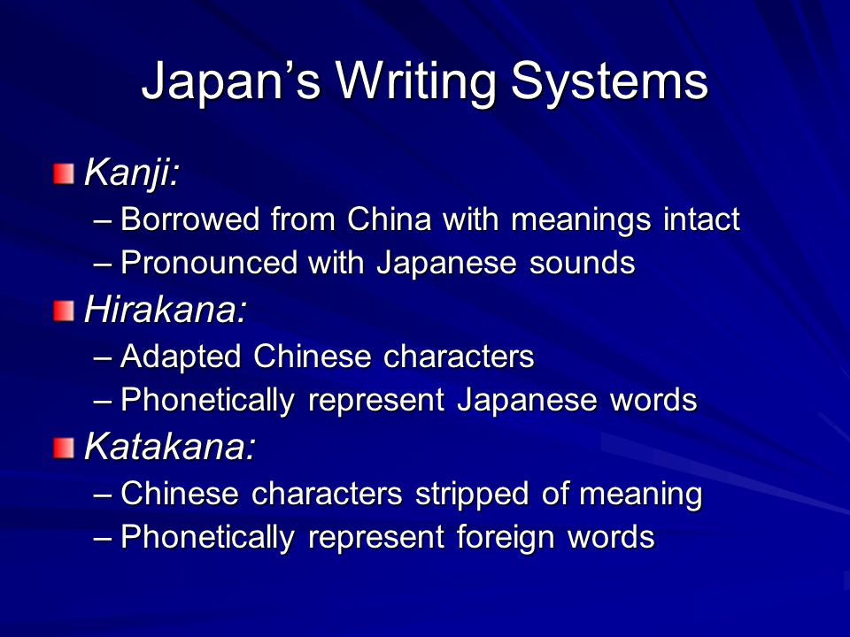 Japan's Writing Systems Kanji: –Borrowed from China with meanings intact –Pronounced with Japanese sounds Hirakana: –Adapted Chinese characters –Phonetically represent Japanese words Katakana: –Chinese characters stripped of meaning –Phonetically represent foreign words
