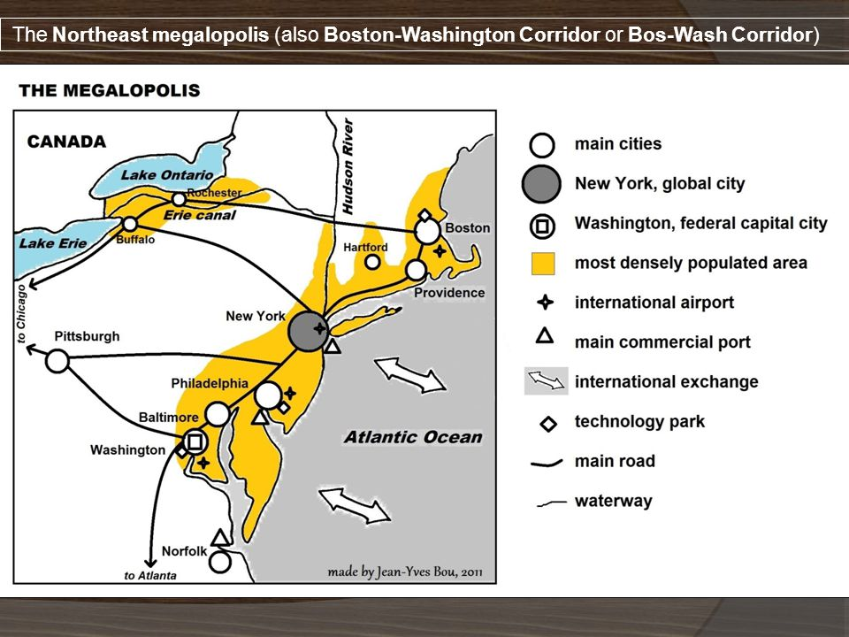 The Northeast megalopolis (also Boston-Washington Corridor or Bos-Wash Corridor)