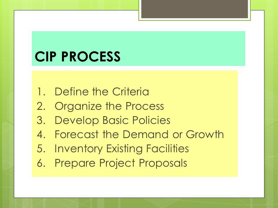 CIP PROCESS 1. Define the Criteria 2. Organize the Process 3.