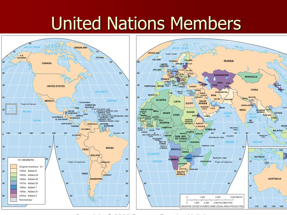 United Nations Members Fig. 8-1: The UN has increased from 51 members in 1945 to 191 in 2003.