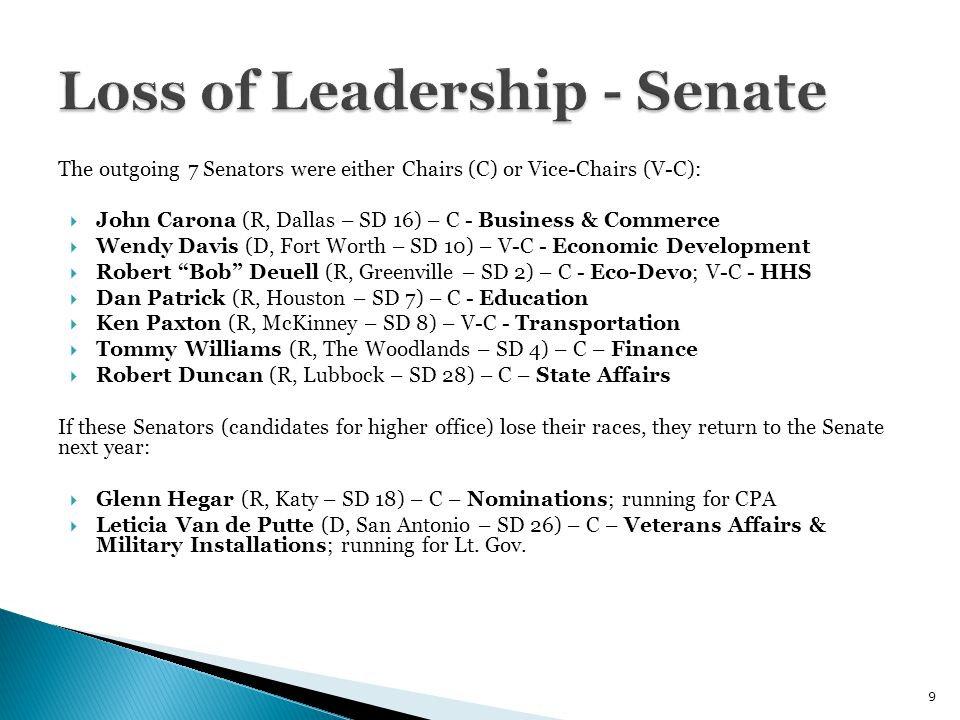The outgoing 7 Senators were either Chairs (C) or Vice-Chairs (V-C):  John Carona (R, Dallas – SD 16) – C - Business & Commerce  Wendy Davis (D, Fort Worth – SD 10) – V-C - Economic Development  Robert Bob Deuell (R, Greenville – SD 2) – C - Eco-Devo; V-C - HHS  Dan Patrick (R, Houston – SD 7) – C - Education  Ken Paxton (R, McKinney – SD 8) – V-C - Transportation  Tommy Williams (R, The Woodlands – SD 4) – C – Finance  Robert Duncan (R, Lubbock – SD 28) – C – State Affairs If these Senators (candidates for higher office) lose their races, they return to the Senate next year:  Glenn Hegar (R, Katy – SD 18) – C – Nominations; running for CPA  Leticia Van de Putte (D, San Antonio – SD 26) – C – Veterans Affairs & Military Installations; running for Lt.