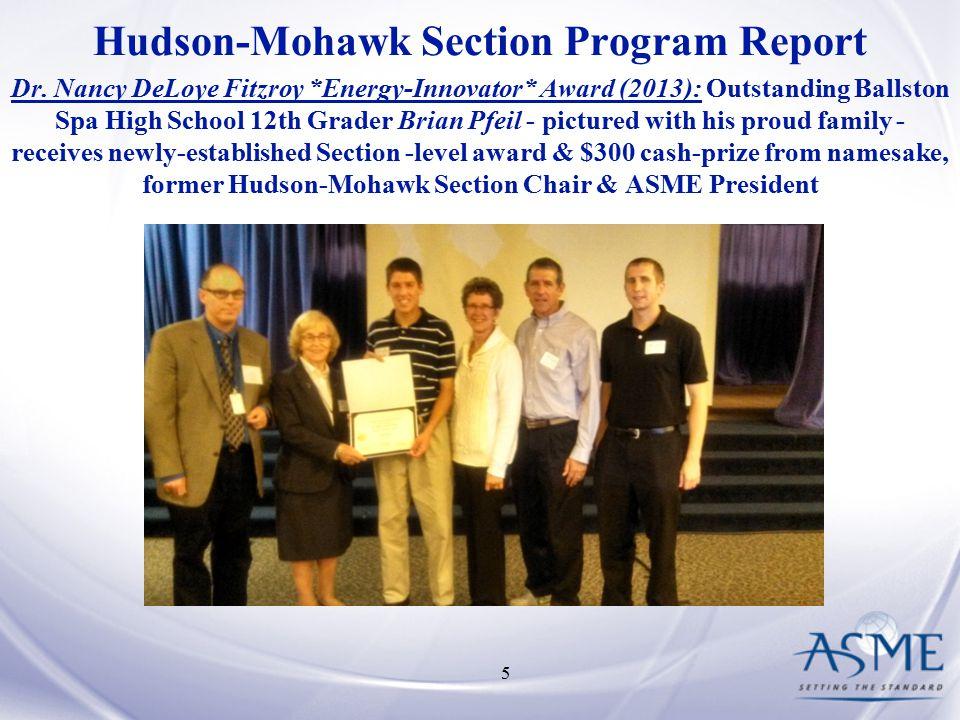 Hudson-Mohawk Section Program Report Dr.