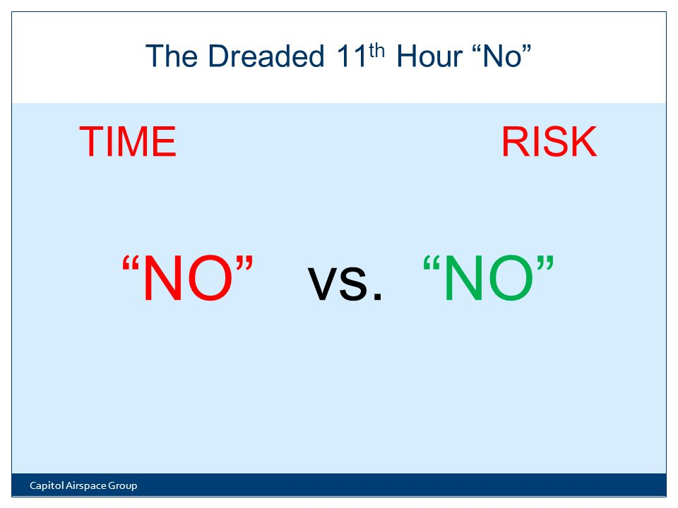 TIME RISK NO vs. NO Capitol Airspace Group The Dreaded 11 th Hour No