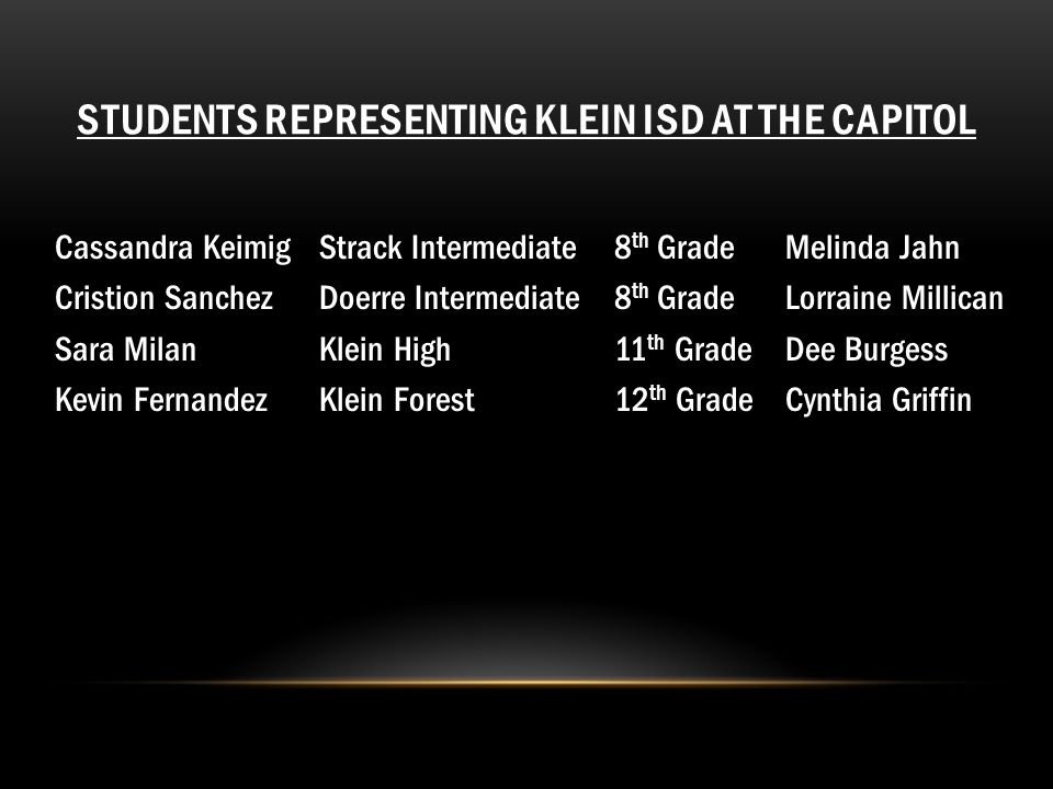 STUDENTS REPRESENTING KLEIN ISD AT THE CAPITOL Cassandra KeimigStrack Intermediate8 th GradeMelinda Jahn Cristion SanchezDoerre Intermediate8 th Grade