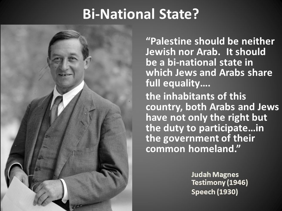 Bi-National State. Palestine should be neither Jewish nor Arab.