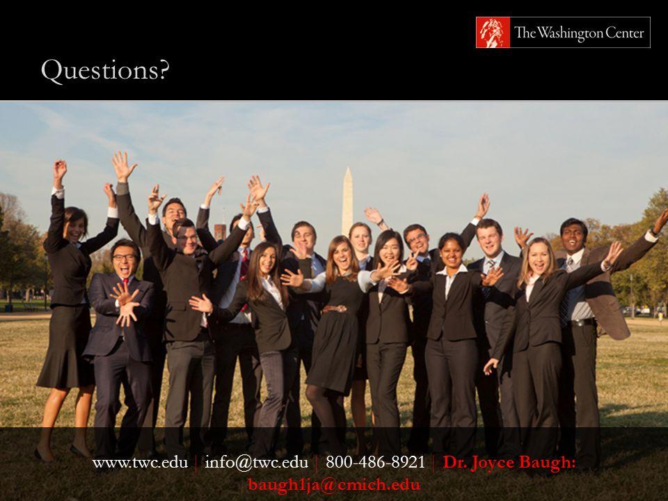 Questions www.twc.edu   info@twc.edu   800-486-8921   Dr. Joyce Baugh: baugh1ja@cmich.edu