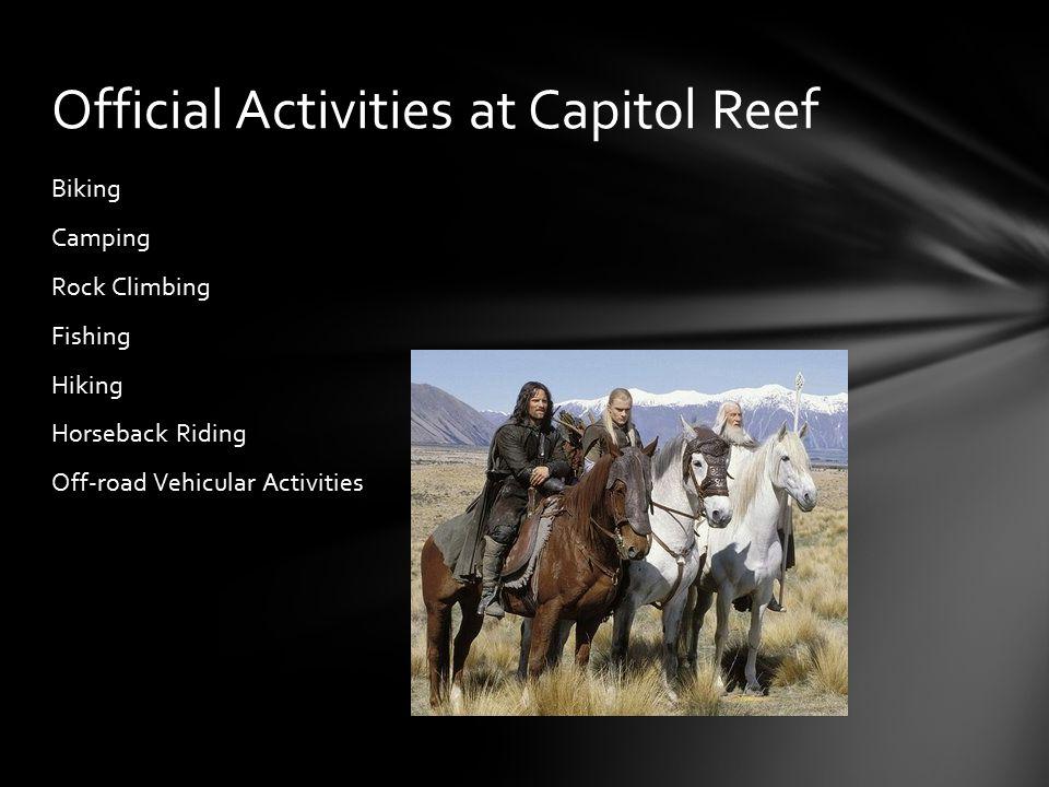 Biking Camping Rock Climbing Fishing Hiking Horseback Riding Off-road Vehicular Activities Official Activities at Capitol Reef