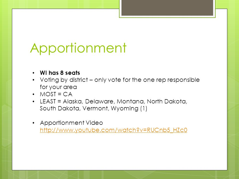 Apportionment WI has 8 seats Voting by district – only vote for the one rep responsible for your area MOST = CA LEAST = Alaska, Delaware, Montana, North Dakota, South Dakota, Vermont, Wyoming (1) Apportionment Video http://www.youtube.com/watch v=RUCnb5_HZc0 http://www.youtube.com/watch v=RUCnb5_HZc0