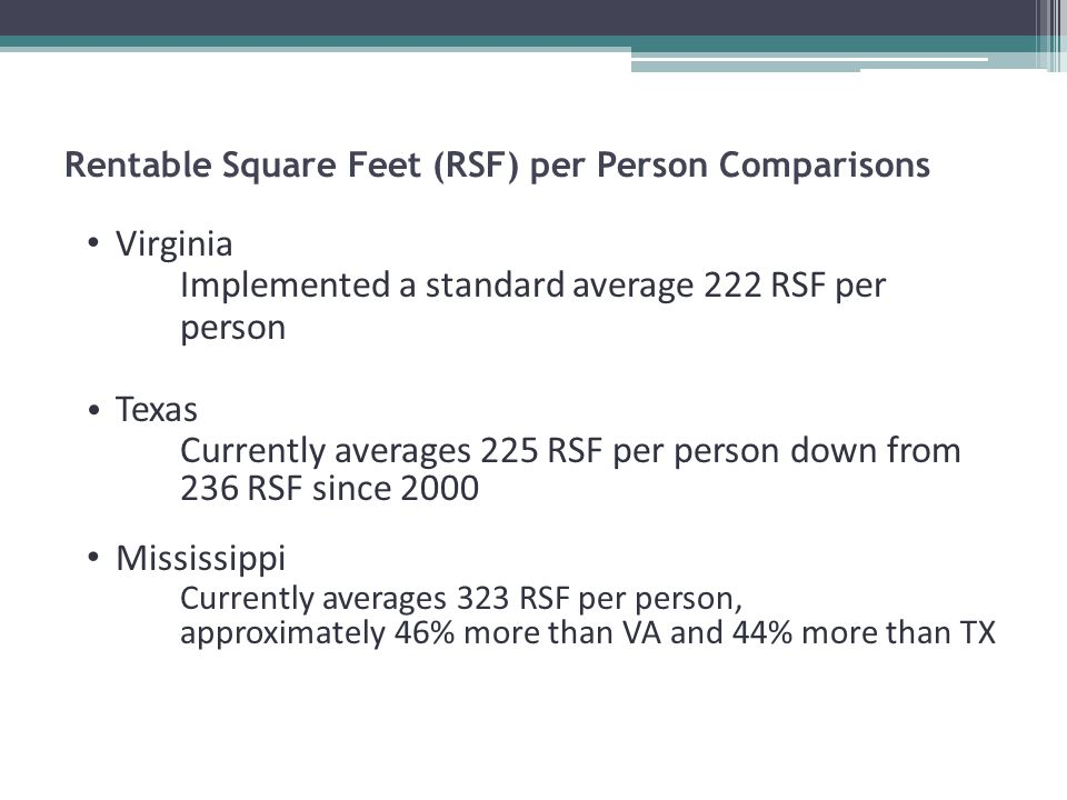 Rentable Square Feet (RSF) per Person Comparisons Virginia Implemented a standard average 222 RSF per person Texas Currently averages 225 RSF per person down from 236 RSF since 2000 Mississippi Currently averages 323 RSF per person, approximately 46% more than VA and 44% more than TX