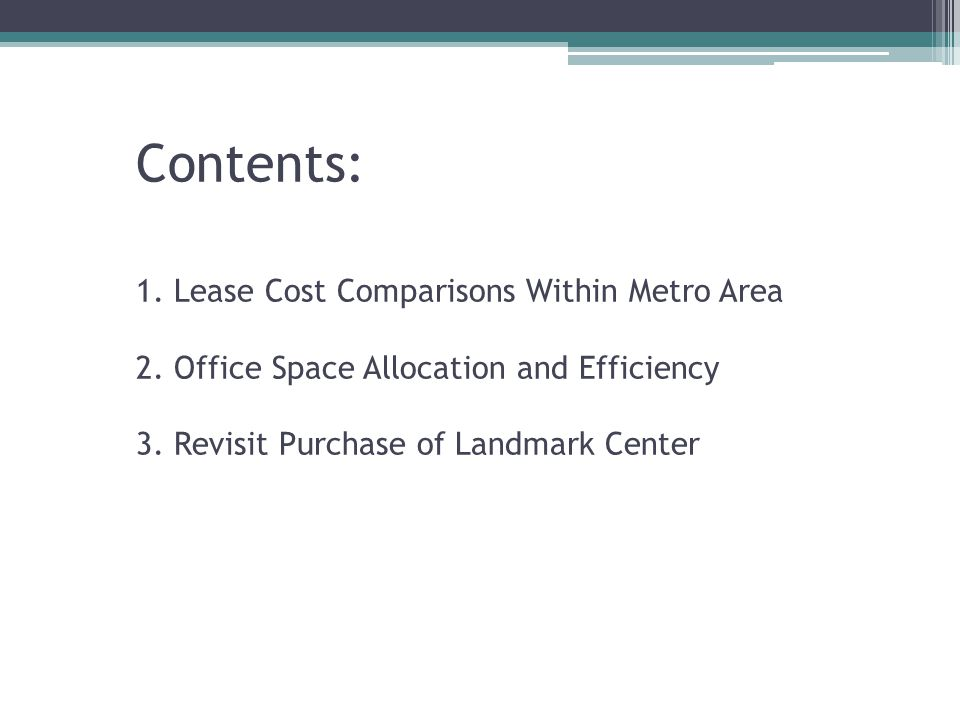 Contents: 1.Lease Cost Comparisons Within Metro Area 2.