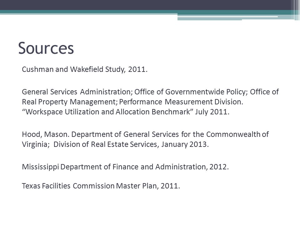 Sources Cushman and Wakefield Study, 2011.