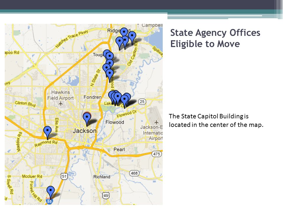 State Agency Offices Eligible to Move The State Capitol Building is located in the center of the map.