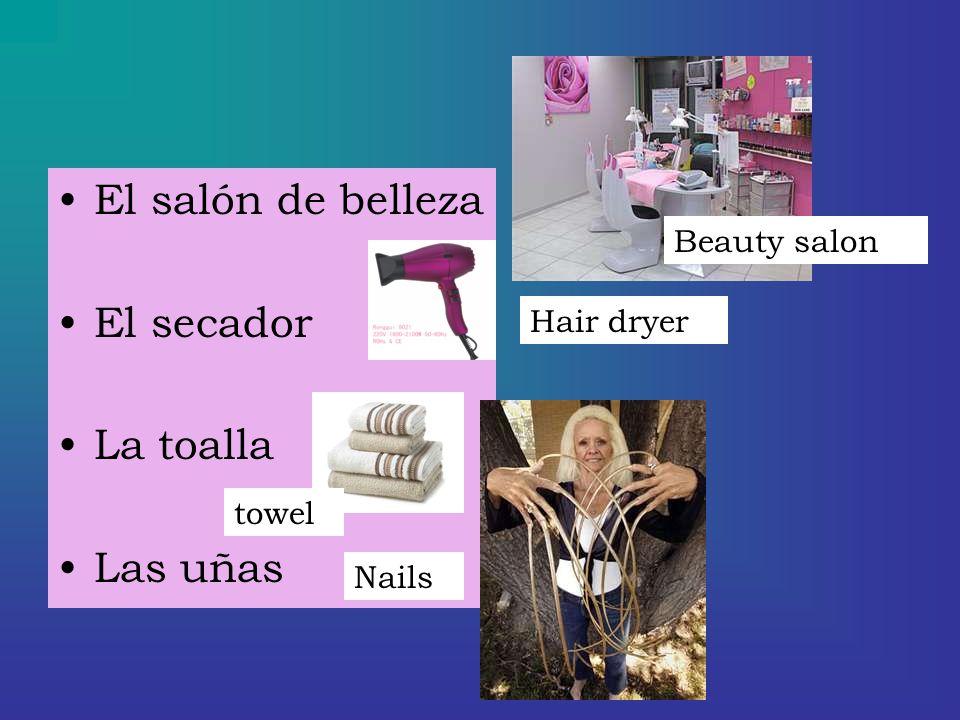 El salón de belleza El secador La toalla Las uñas Beauty salon Hair dryer towel Nails