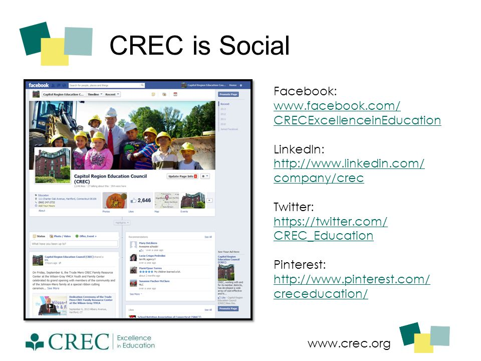 www.crec.org CREC is Social Facebook: www.facebook.com/ CRECExcellenceinEducation LinkedIn: http://www.linkedin.com/ company/crec Twitter: https://twi